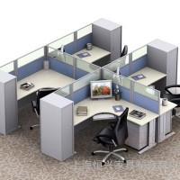 上海公司办公家具 简约现代员工桌 4人位办公桌职员桌屏风工作